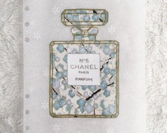 Blue Floral Chanel Bottle Dashboard | Filofax stationary