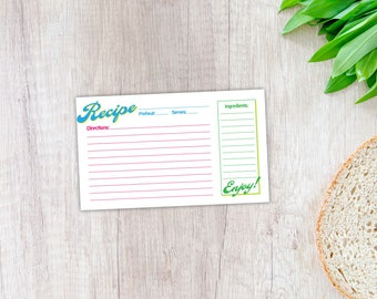 Recipe Card, Printable Template, Instant Digital Download, 3x5, Bright Colors