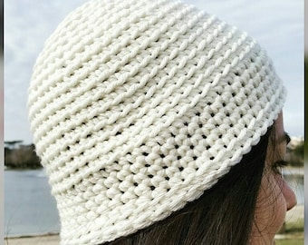 White easy beanie crochet pattern all sizes from newborn to adult