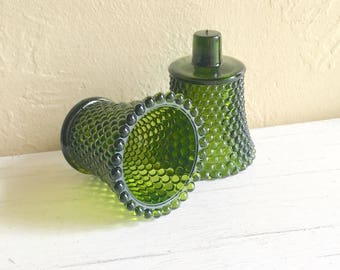 Dark Green Glass Candle Holders for Wall Sconces Pair