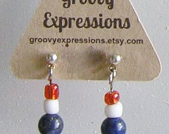 Red, White & Blue Earrings with Stainless Steel Posts
