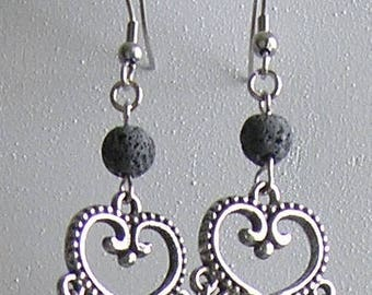 Natural Lava Bead and Clear Crystal Chandelier Earrings with Stainless Steel Hooks