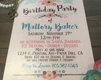 Birthday Party Invitations - Girly - Birthday Party - Bright Colored - Floral