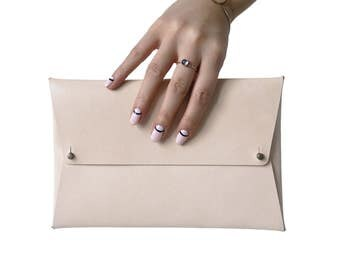 Leather Envelope Clutch | Size: Sensible, Natural