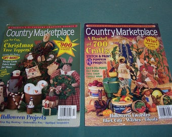 Country Marketplace Magazines...Two Copies...Vintage Craft Magazines..2002 Country Crafts Books...Complete..