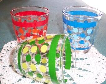 Set of 3 Vintage Sour Cream Glasses...Dot Glasses....3 Half Pints...1970's..Good Condition..A Bit Rare Collectible Glass...