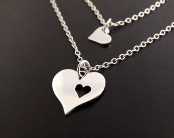 Mother Daughter Necklace Set Mother Daughter Jewelry Mothers day from daughter Sterling Silver Necklace Heart necklace