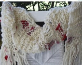 CHRISTMAS SALE SALE Hand Knit Christmas Scarf  Ivory Handspun ,  Bulky Super Soft Wool in Ivory Yarn with Red lace and material accents