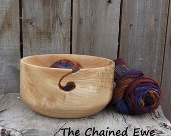 Yarn Bowl, Hand Turned Wooden Yarn Holder