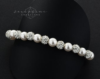 Wedding Pearl Bracelet Bridal Bracelet Wedding Jewelry Swarovski Pearls Shamballa Beads Sparkly Rhinestone Crystal Bridesmaids Selene B11