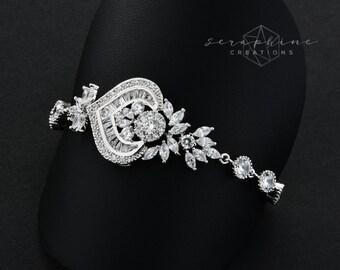 Wedding Bracelet Wedding Jewelry Bridal Bracelet Cubic Zirconia Rhinestones Bling Victorian Wedding Sparkly Bracelet Jewelry Melinda B36