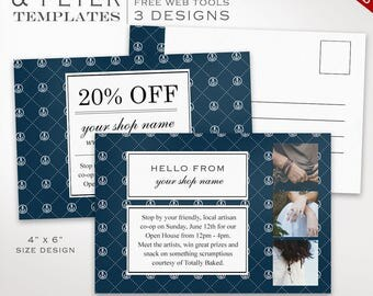Postcard Template - Nautical Flyer Template Postcard Kit - Printable Photography Postcard Editable Shop Announcement Flyer PC46 AAC