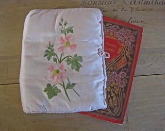 pink silk book cover - antique French book protector with handpainted pink flowers