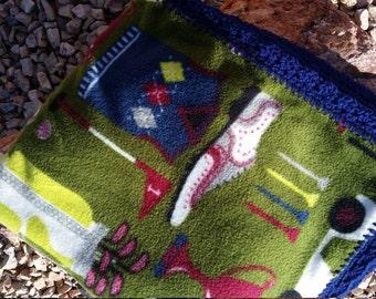 Golf Themed Crocheted Fleece Blanket