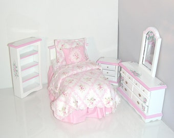 DELICATE PINK Cottage Chic Twin Bed Bedroom Set 1:12 Dollhouse Miniature Custom Dressed Hand Painted