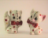 Vintage red and gold polka dotted kitten figurines. Made in Japan figurines.