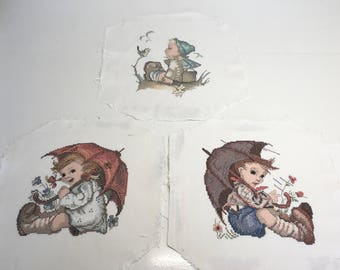 Finished / Completed Cross Stitch - Hummel x3  - Carefree Days by Needle Treasures plus more