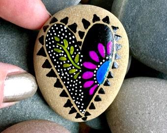 at the heart of midnight / painted rocks / paintd stones / rock art / heart rocks/ art on stone / boho art / boho decor / hippie art / rocks