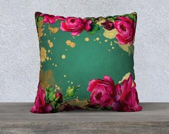 Vintage Pink Peony Flowers on Dark Green Velveteen Cushion Cover