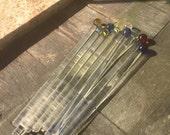 Marble End Swizzle Stick Set OOAK by Ocean Beach Glass