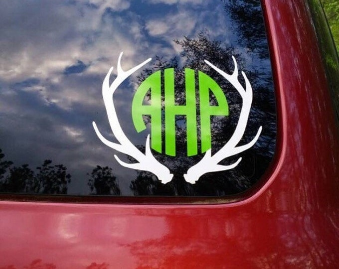 Antler Monogram Decal Antlers Monogram Deer Hunting Decal Vinyl Car Decal Car Window Monogram Preppy Southern Hunting Vinyl Decal Gift