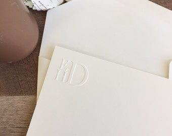 Flat 4x6 Notecards Stacked Embossed Monogram Stationery Notecards and Blank Envelopes | Printed by Darby Cards