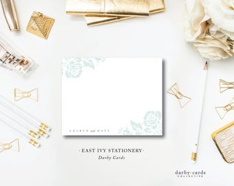 East Ivy Stationery Notecards | Flat A6 Stationery Flat Notes with Blank Envelopes | Printed by Darby Cards Collective