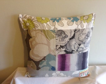 "16"" modern purple, blue, cream, green patchwork cushion cover, pillow, pillow case, scatter cushion. Pillow sham"
