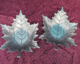 Vintage pewter Snack Leaf dishes set of 2 used no markings