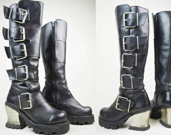 90s Grunge Goth Black Leather Destroy Metal Heel Buckled Knee High Platform Biker Boots UK 3 / US 5.5 / EU 36
