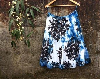 Flower Skirt, Size small, shibori dyed skirt, cotton skirt, upcycled women's skirt, naturally dyed clothing
