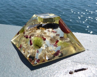 BLACK TOURMALINE and PERIDOT Positive Energy Orgone Mayan Pyramid with Bingham Blue Fluorite, UltraPure Quartz, Copper, Gold and Garnet.