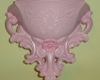 HOMCO Shabby Chic Hollywood Regency Upcycled PINK Vintage Wall Home Decor Wall Pocket/ Planter