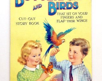 Vintage 1930s Childrens Cut out Story Book Butterfly Parrot Finger Puppet
