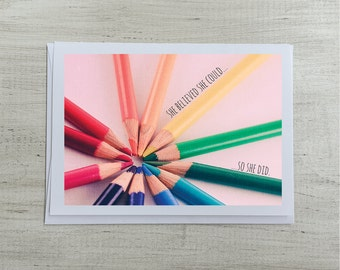 Inspirational Greeting Card   She Believed She Could So She Did Blank Inside   For Her Quote   Encouragement