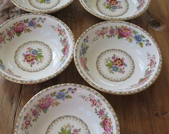 Set of 5 Royal Grafton 'Malvern' vintage china dessert bowls