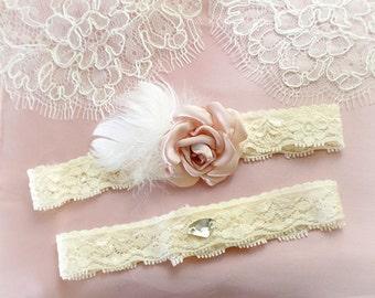 Beige Cream Garter Set Blush Pink Flower White Feather Rhinestone Bridal Wedding Garter Belt Prom Honeymoon Elegance Keepsake