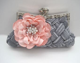 Stunning Grey Satin Pleated Front Crystal Frame Clutch with a Handmade Blush Pink Satin Open Rose and a Pearl and Rhinestone Accent