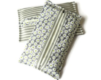 2 x Paper Handkerchief Holders - Grey Cotton Fabric Cover for Paper Tissues - Kleenex Cover Case - Paper Hankie Case