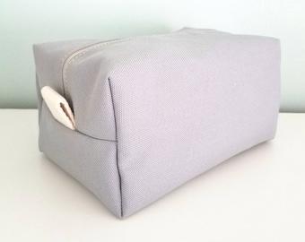 Gray Cosmetic Bag - Large Makeup Bag - Waterproof Makeup Bag - Mens Toiletry Bag