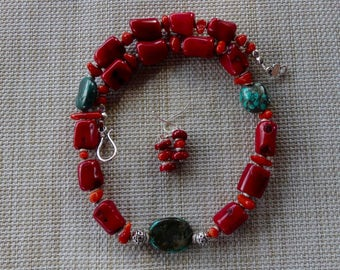 20 Inch Rustic Red and OrangeCoral and Natural Green Turquoise with Earrings