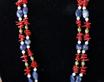 Vintage 32 Inch Double Strand Red Branch Coral, Blue Sodalite, and Green Pearl Necklace with Earrings