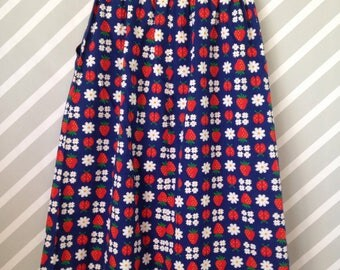 vintage handmade strawberry floral lady bug maxi skirt with pockets size estimate 6-7-8 years