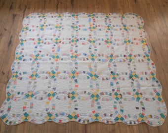 Antique Handstitched Double Wedding Ring Quilt - Feedsack Fabrics