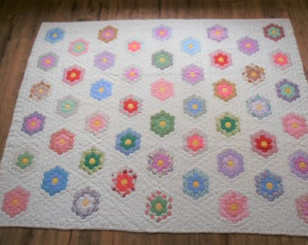 Antique Handstitched Grandmother's Flower Garden Quilt - Feedsack Fabrics