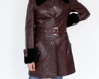 Vintage 1970's Leather Coat Faux Fur Trim Made in Spain