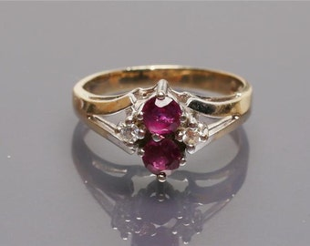 Ruby Diamond Ring Art Deco 14K Gold Vintage Jewelry WINTER SALE