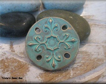 Handmade Solid Bronze Round Connector or Bracelet Component - Verdigris Patina!