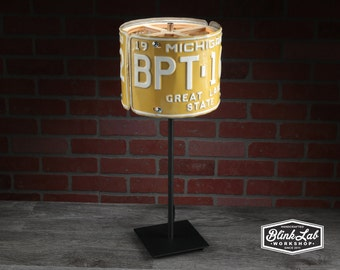 YOUR LICENSE PLATES Custom Made Into a Table Lamp, Bar Ideas, Garage Light, Repurposed, Upcycle, Automotive Lamp, Dad Gift,  Made to Order
