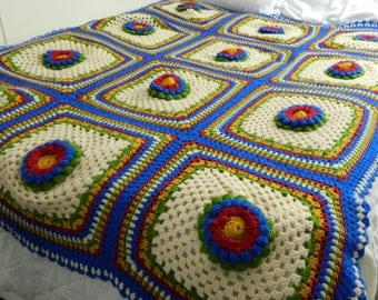 Hand Crocheted Granny Square Blanket with Raised Flowers 57 x 77